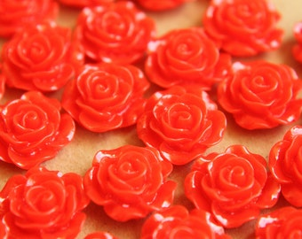 SALE - 20 pc. Cherry Red Glossy Crisp Petal Rose Cabochon 14mm   RES-273
