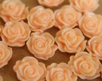 CLOSEOUT - 20 pc. Pale Peach Ruffle Rose Cabochons 13mm x 11mm - RES-322