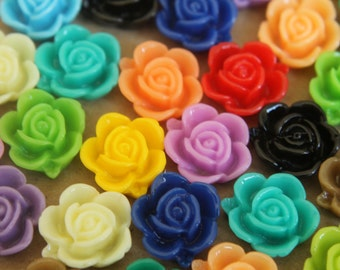 CLOSEOUT - 30 pc. Multi Colored Blooming Rose Cabochons 15mm | RES-344