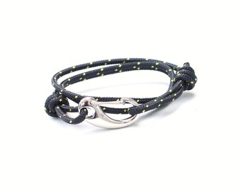 Mens Rope Bracelet with Stainlesss Clasp, Black and Golden Yellow Nautical Knot