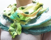 Nuno felted green infinity circle loop shawl wrap scarf chiffon silk wool shibori hand dyed ooak white olive forest lime dark