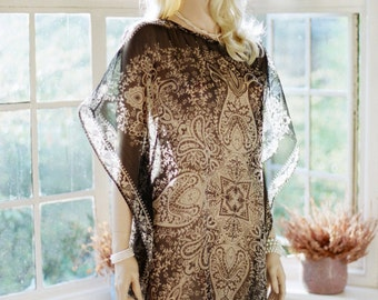 Limited edition. Sheer Black and cream Chiffon kaftan tunic or beach cover up. Honeymoon coverup.
