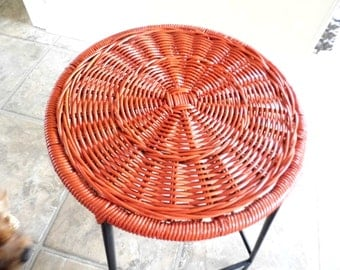 Updated Vintage Arthur Umanoff Style Wicker and Metal Stool, Kitchen Island Seating, Photo Prop, Island Chic, Industrial Chic