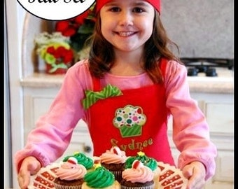 """Christmas Cupcake Apron and Chef Hat Baking Set - Girls Cupcake Appliqued """"Santa's Helper"""" Matching Personalized Name Holiday Embroidered"""