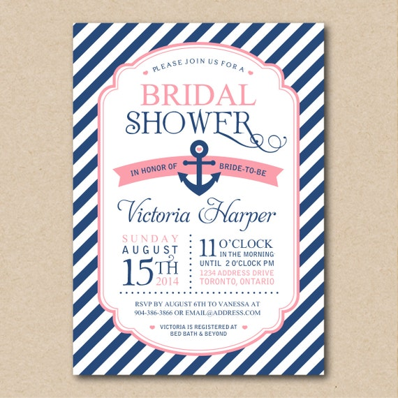items similar to bridal shower invitation nautical. Black Bedroom Furniture Sets. Home Design Ideas