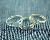 adjustable ring blanks jzt46 silver for cabochons gem stones Thick and heavy