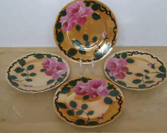 Vintage Lusterware Dessert/Bread Plates with Hand Painted Roses Set of Four