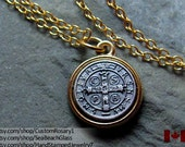 St Benedict. Saint Benedict. St. Benedict. Necklace.  GOLD filled chain. St. Benedict Medal. St Benedict Pendant. Saint Medal Charm