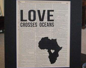 Love Crosses Oceans (DRC- Democratic Republic of Congo) - Vintage Adoption Word Art
