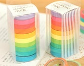 ANGOO Rainbow Masking Tape Set - Washi Tape - Paper Tape - 10 Rolls in