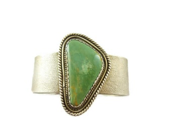 Vintage Sterling Silver and Turquoise Cuff Bracelet Men Very Large Stone OOAK