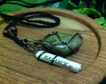 Unakite Balance Charm Necklace