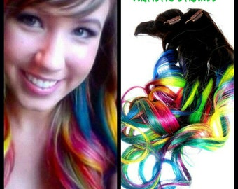 """Neon Rainbow Hair Extensions / Ombre / Dip Dye / Full Set / 22-24"""" Inches Long / Human Hair"""