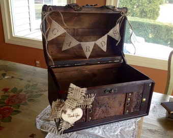 Rustic Wedding Card Box/Burlap Banner. Rustic Wedding Card Holder.