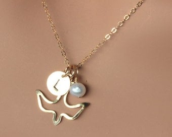 Gold  Dove Initial Neckalce , Baptism Gift , Dove Flying Necklace with Initial Freshwater Pearl Necklace . Daughter , Baptism gift girl