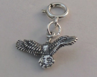 Sterling Silver American Bald Eagle Charm - Fits Both Traditional and European Charm Bracelets - 2156
