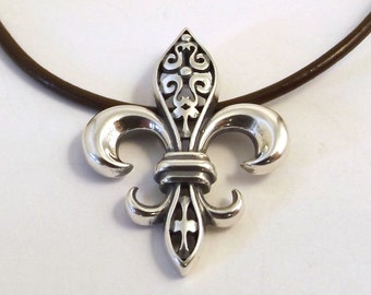 Sterling Silver Fleur de Lis Pendant on a Brown 2mm Leather Necklace - 1970