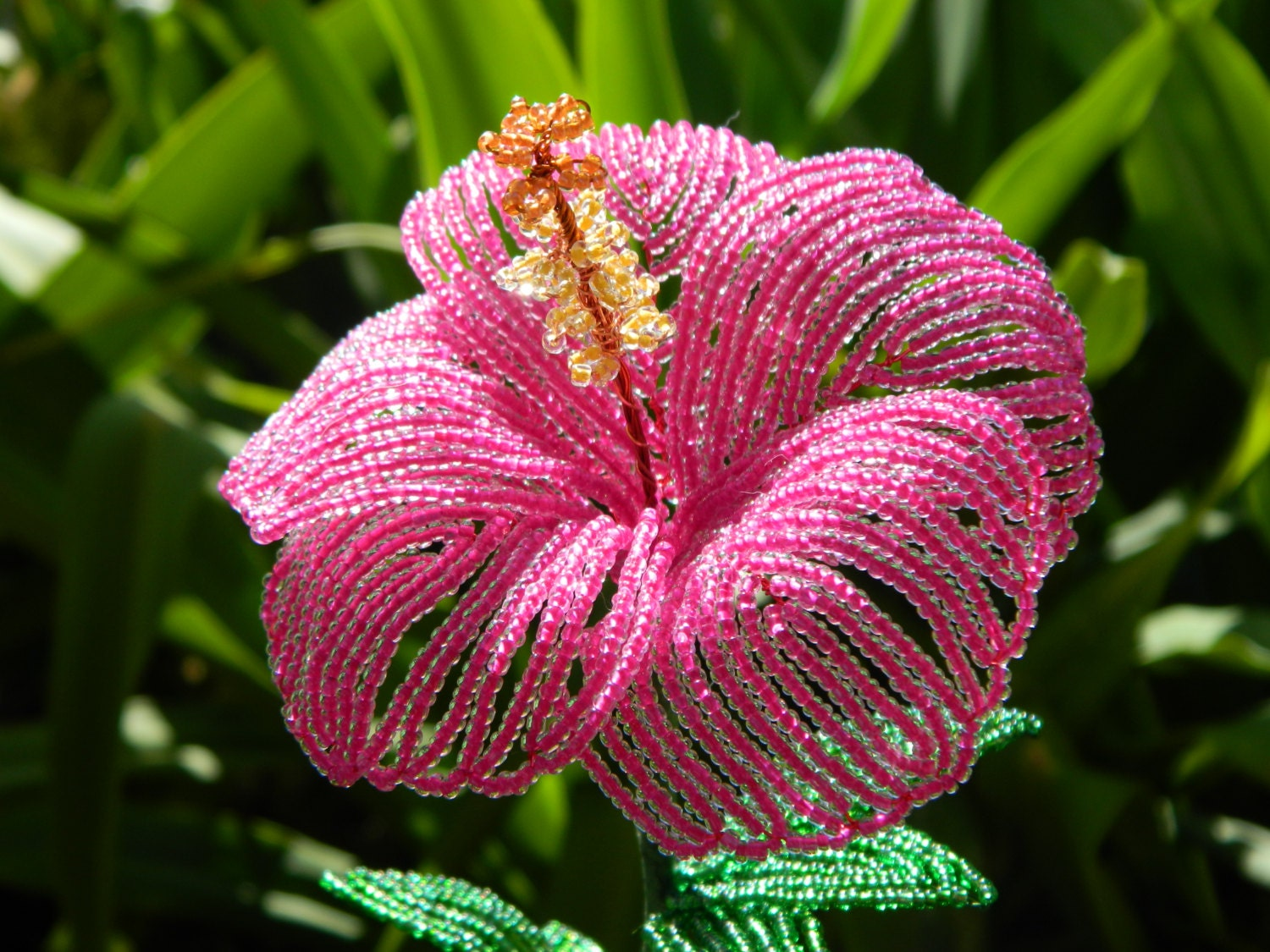 Fuchsia Pink Hibiscus Style French Beaded Flower
