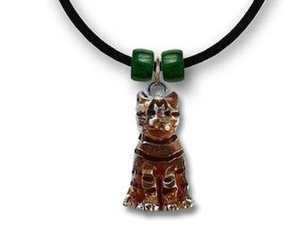 Enamel Orange Tabby Cat Necklace