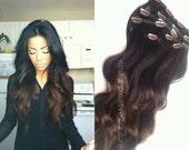 "Dark Chocolate Ombre, Weft Ombre Hair, Dark Brown Balayage Hair, Darkest Brown and chocolate hair, Studio She, 18"""
