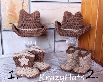 Crochet Cowboy hat and boots. Crochet cowboy set
