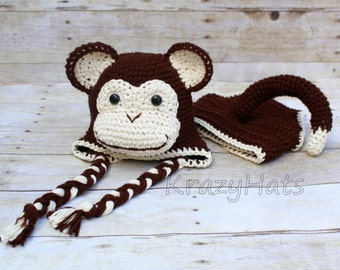 Crochet Chimpanzee hat and diaper cover