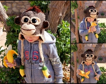 Crochet Monkey Hat.Handmade monkey hat