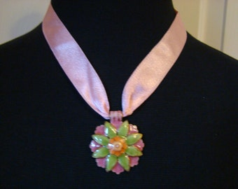 Vintage Pink Satin Choker- Pink and Green Enamel Medallion - 15 inches long and 3 inch extender