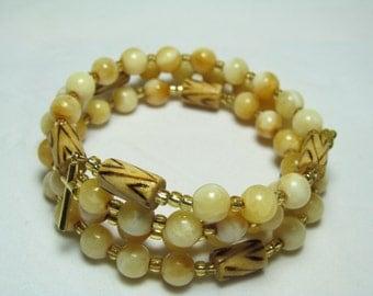 Rosary Bracelet, 5 Decade Rosary bracelet, Wrap Rosary bracelet, Mother of Pearl Shell, Catholic, Five decade Rosary bracelet, Communion -51