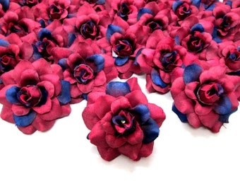 12 Wine mini Roses Heads - Artificial Silk Flower - 1.75 inches - Wholesale Lot - for Wedding Work, Make Hair clips, headbands, hats