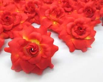 24 Orange mini Roses Heads - Artificial Silk Flower - 1.75 inches - Wholesale Lot - for Wedding Work, Make Hair clips, headbands