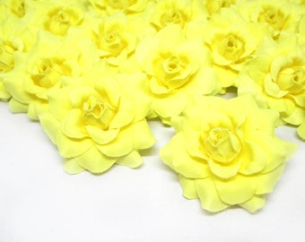 24 Light Yellow mini Roses Heads - Artificial Silk Flower - 1.75 inches - Wholesale Lot - for Wedding Work, Make Hair clips, headbands