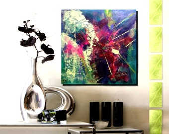 """24x24"""" Original Abstract Modern Oil Painting On Stretched Canvas Ready to Hang - Vivid"""
