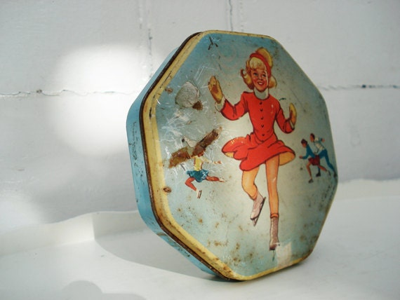 Small blue tin box little girl ice skating by itsvintageindeed - Small tin girl ...