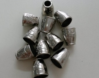 25 pcs Cord Locks Stopper Toggle Metal, End Caps, Nickel / Silver Vintage Flourish