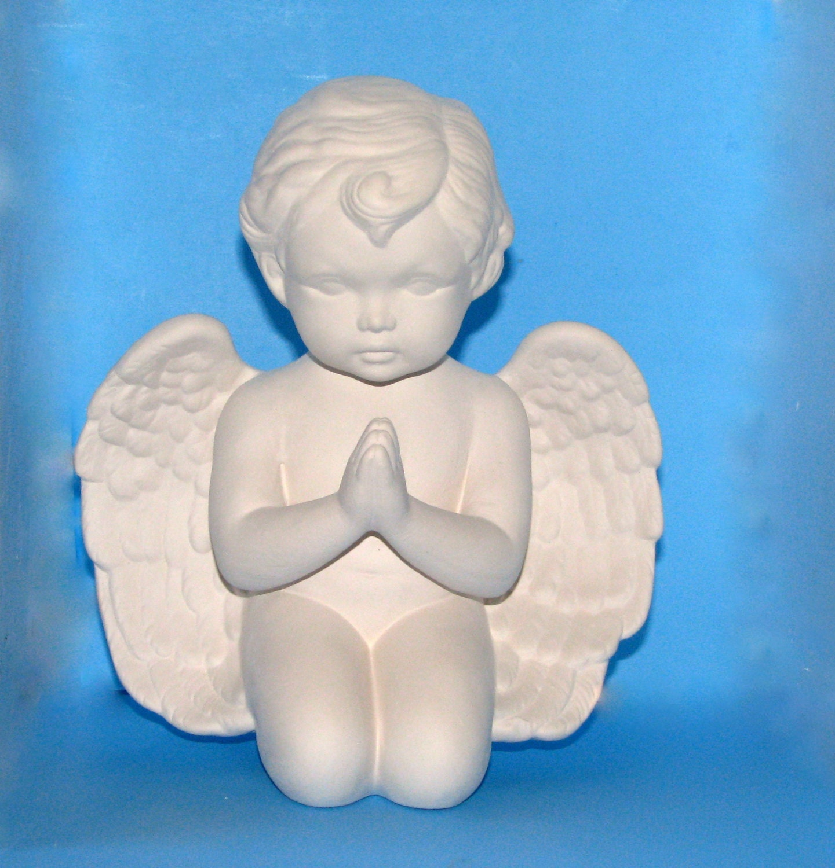 Ceramic Ready To Paint Cherub Kneeling 9 5 Inches Unpainted