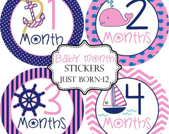 Girls Nautical Whale Anchor, Monthly Baby Month Stickers Make Great Baby Shower Gifts..Bonus Just Born Sticker Included
