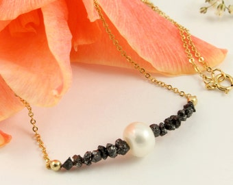 Gold Necklace with Pearl and Raw Diamonds - Uncut Rough Diamonds - Freshwater Pearl - April Birthstone