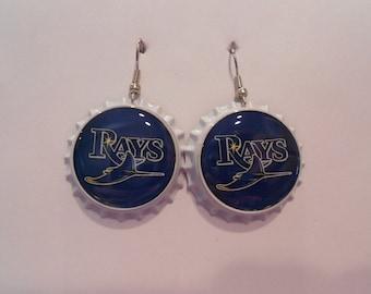 Tampa Bay Rays bottle cap earrings