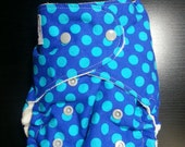 Blue Dots All In One (AIO) or All In Two (AI2) Cloth Diaper