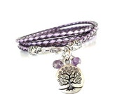 Tree of Life Leather Wrap Bracelet Braided Yoga Jewelry Purple Recovery Unique Gift For Her Christmas Stocking Stuffer Under 50 Item P9