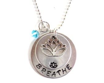 BREATHE Necklace, Custom Necklace, Namaste Jewelry, Yoga Jewelry, Engraved, Unique, Gift For Her, Christmas, Stocking Stuffer, Customizable