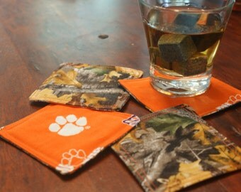 Clemson Camo Reversible Fabric Coasters Set of 4, Clemson Tigers, Bareware, Coasters, Tailgating, Stocking Stuffers, Secret Santa Gift