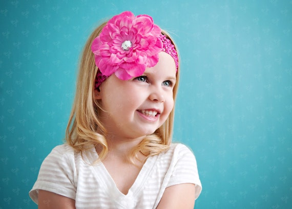 Ema Jane - Peony Flower Hair Clips with Crochet Headbands (12 Peony Clips & 12 Crochet Headbands, 24 Set)