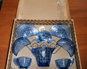 Art Deco  Antique  Akro Agate  Concentric Ring  Cobalt Blue  Child's Glass Tea Set   Mint in Box   Play Time Glass Dishes