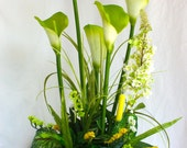 Calla Lily Floral Arrangement/Centerpiece with Additional Greenery