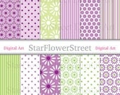 Purple Green Flower Digital Paper lilac lime daisy polka dot stripe floral patterns scrapbook scrapbooking background DIY invitations