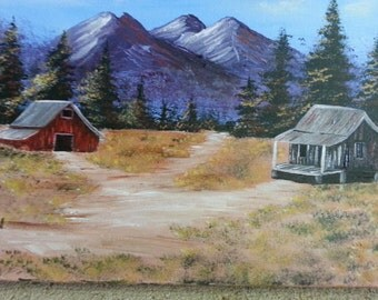 Painting featuring a mountain scene with a old red barn and an old cabin