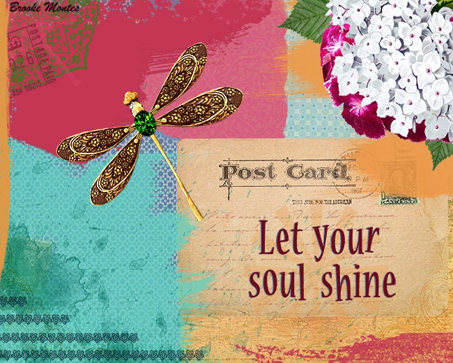 Dragonfly Art Print - Quote Inspirational Collage - Mixed Media ...
