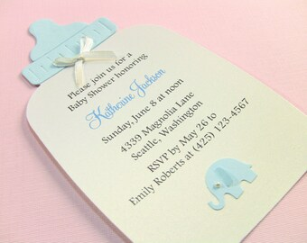 Customize Any Color, 10 Baby Bottle Baby Shower Invitations or New Baby Announcement Cards, Baby Boy Blue Elephant